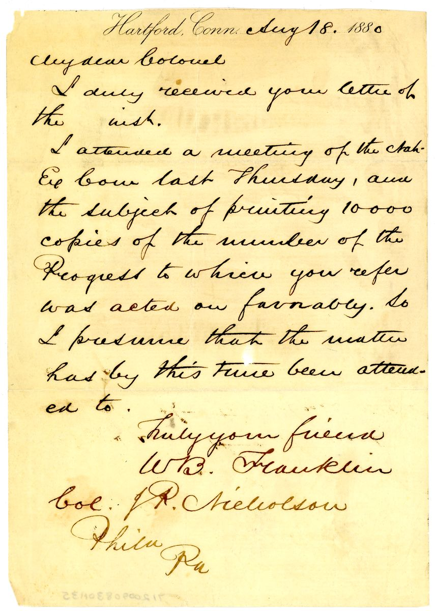 Image: Letter from W.B. Franklin to J.P. Nicholson