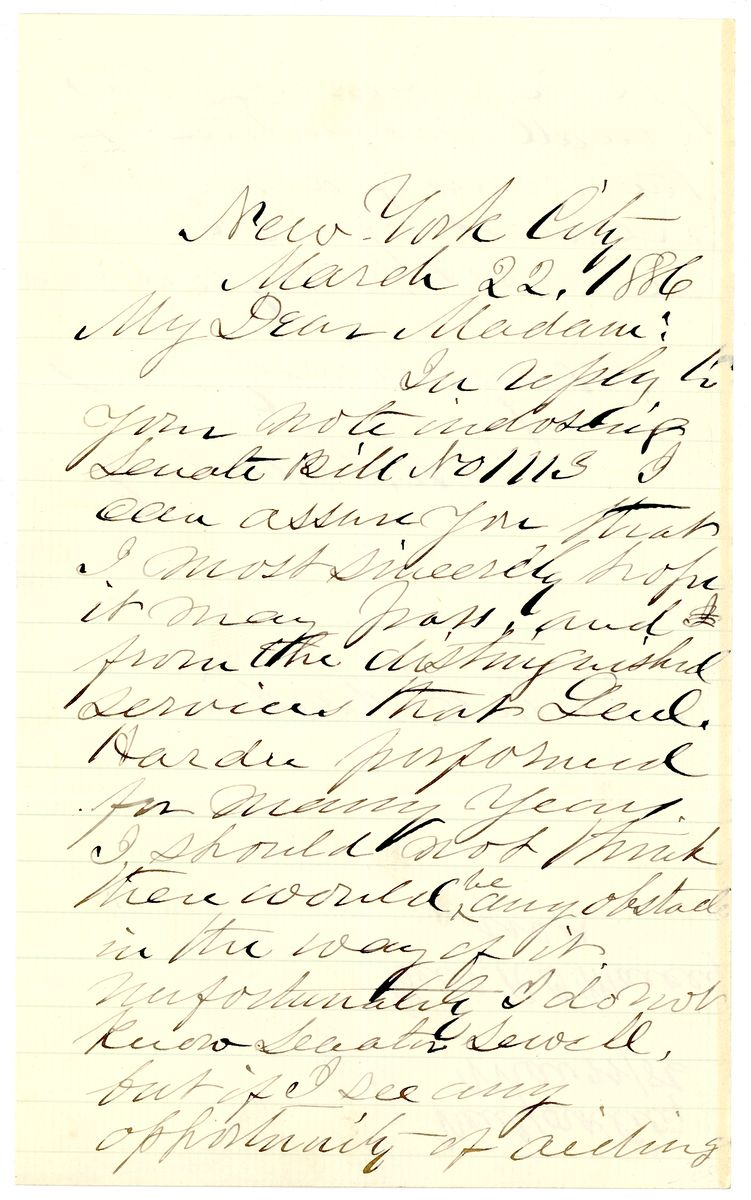 Image: Letter from Randolph B. Marcy to Mrs. M.C. Hardie