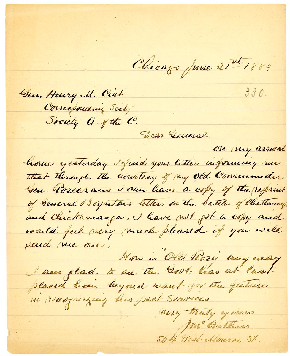 Image: Letter from John McArthur to Henry M. Cist