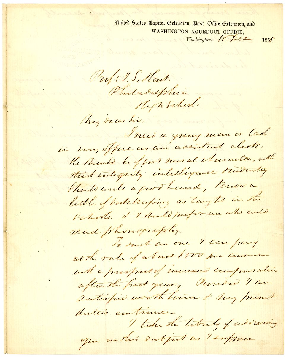 Image: Letter from Montgomery C. Meigs to John S. Hart
