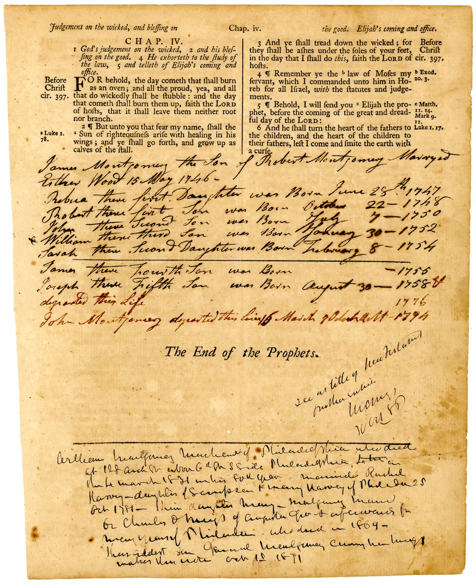 Image: Page from Montgomery Family Bible