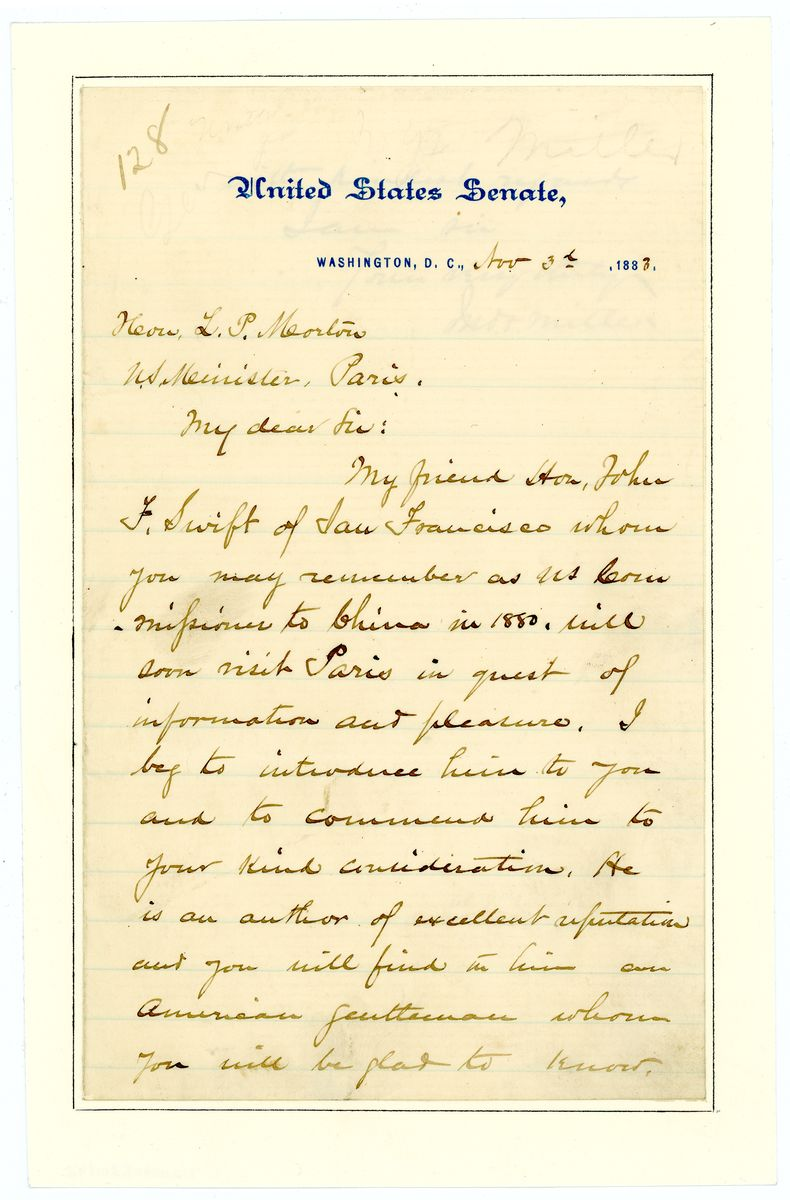 Image: Letter from John F. Miller to Levi P. Morton