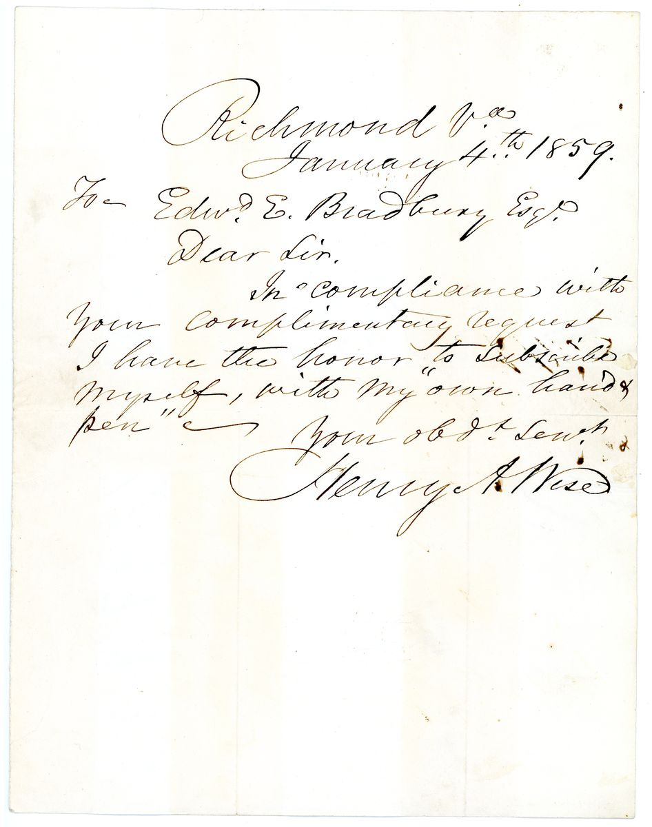 Image: Letter from Henry A. Wise to Edward E. Bradbury