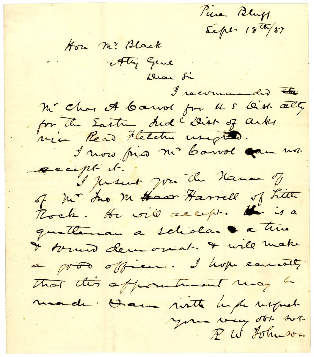 Image: Letter from Robert Ward Johnson to Jeremiah Black