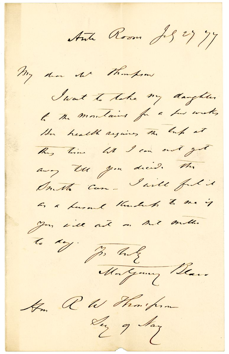 Image: Letter from Montgomery Blair to Richard W. Thompson