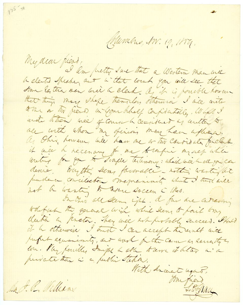 Image: Letter from Salmon P. Chase to J.R. Williams