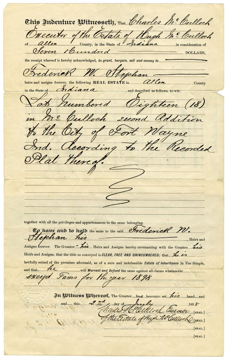 Image: Land Deed Transfer from Charles McCulloch to Frederick W. Stephan