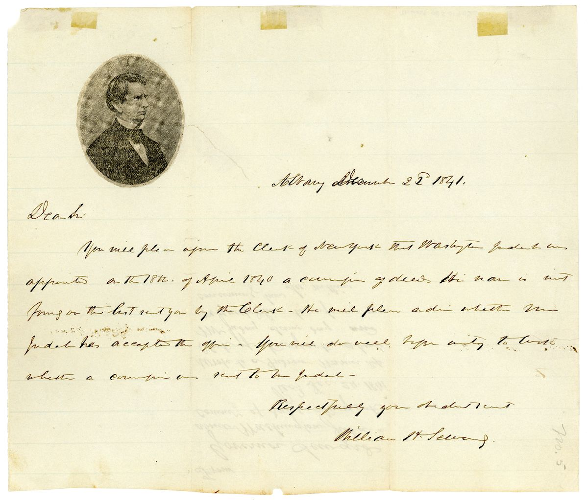 Image: Letter from William Henry Seward to Andrew Warner