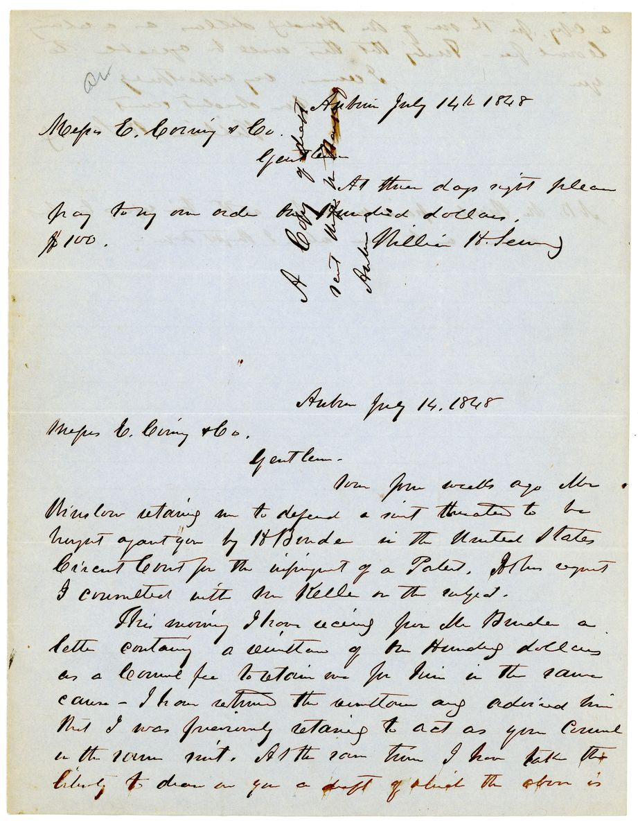 Image: Letter from William Henry Seward to E. Corning & Company