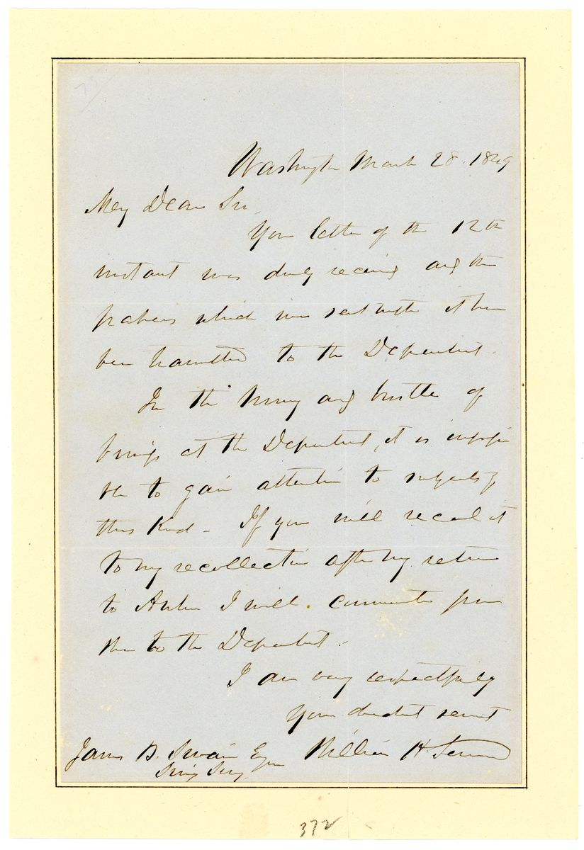Image: Letter from William Henry Seward to James B. Swain
