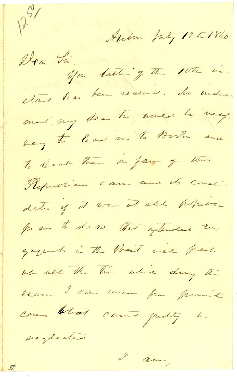 Image: Letter from William Henry Seward to George Gregory