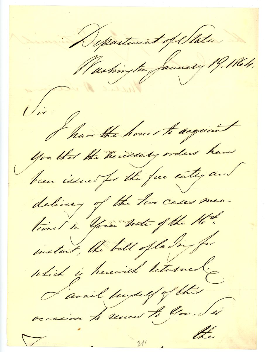 Image: Letter from William Henry Seward to Sir