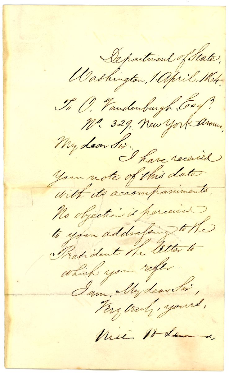 Image: Letter from William Henry Seward to O. Vandenburgh