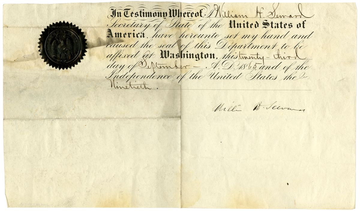 Image: Portion of Document signed by William Henry Seward