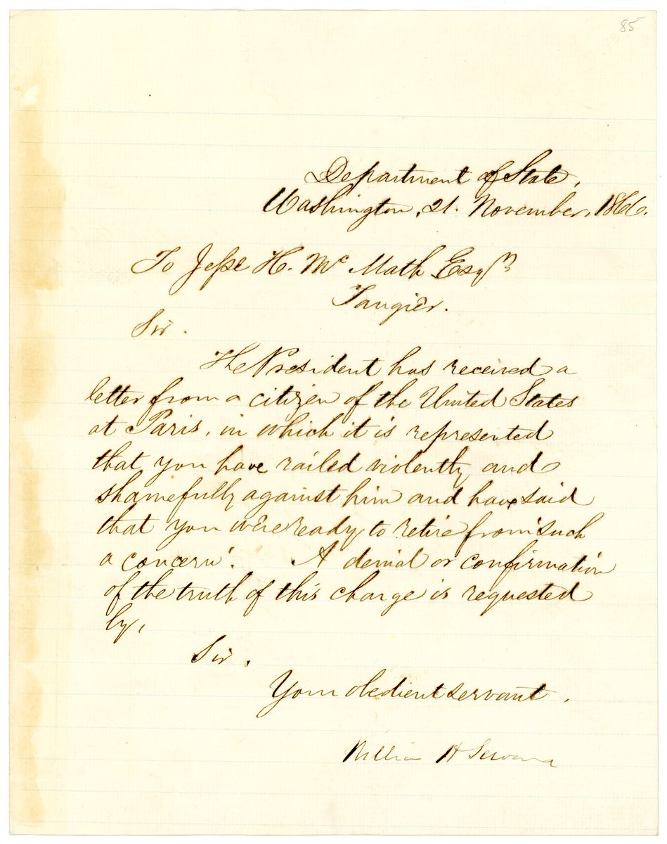 Image: Letter from William Henry Seward to Jesse H. McMath