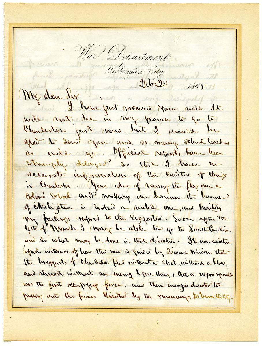Image: Letter from Edwin M. Stanton to Henry Ward Beecher