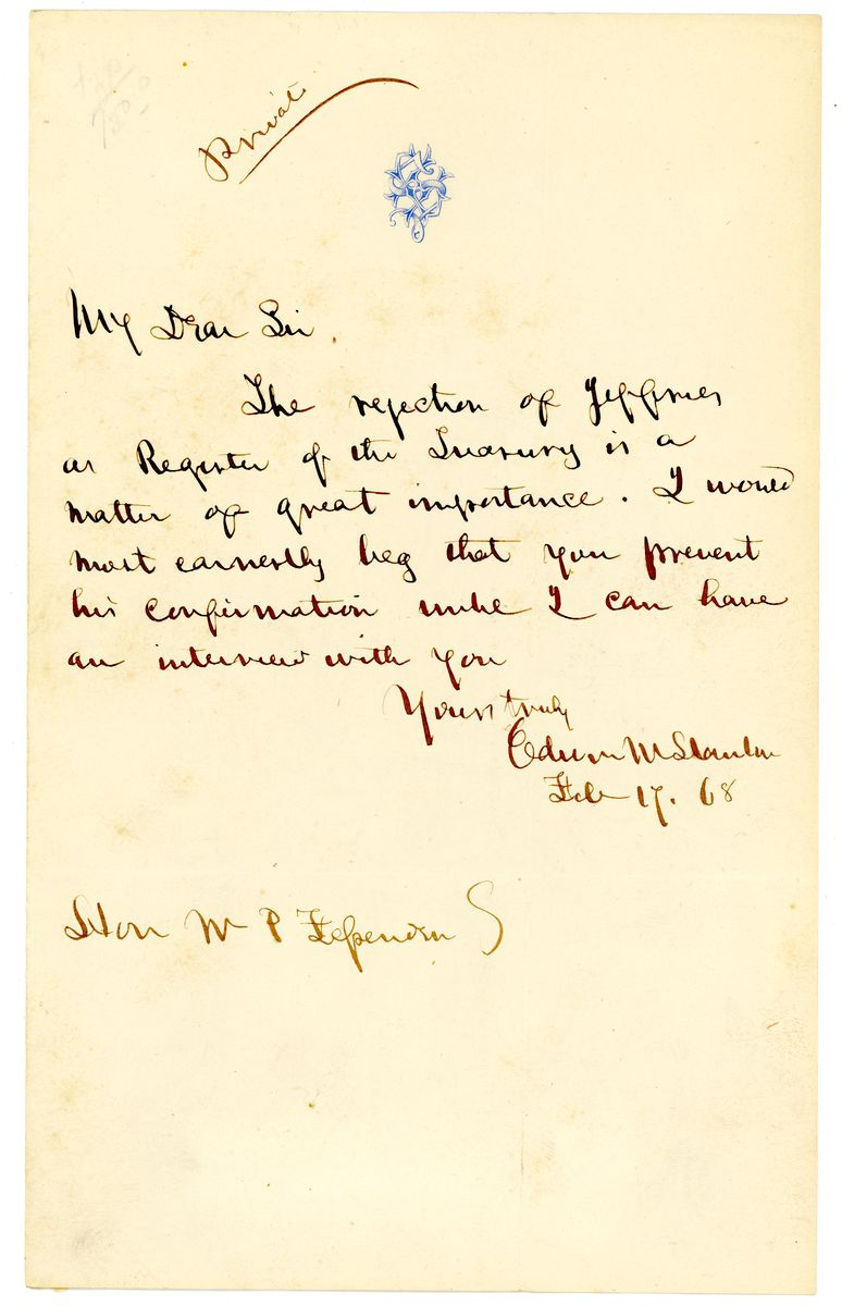 Image: Letter from Edwin M. Stanton to William Fessenden