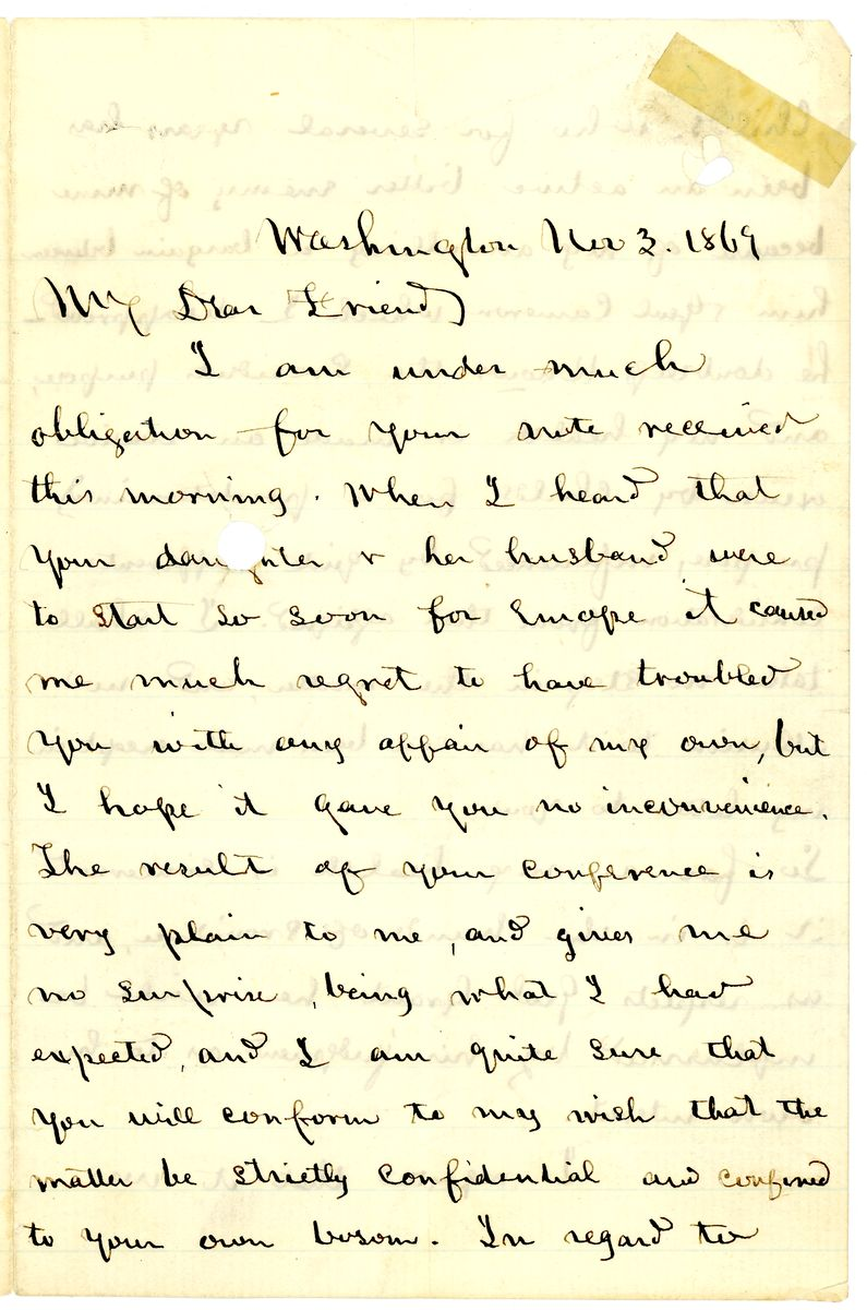 Image: Letter from Edwin M. Stanton to Matthew Simpson