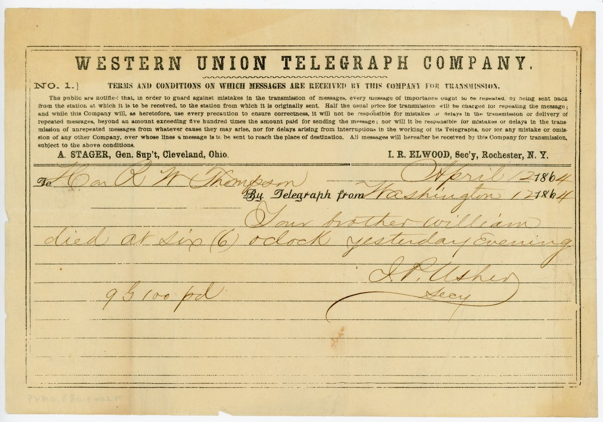 Image: Telegram from John P. Usher to Richard W. Thompson