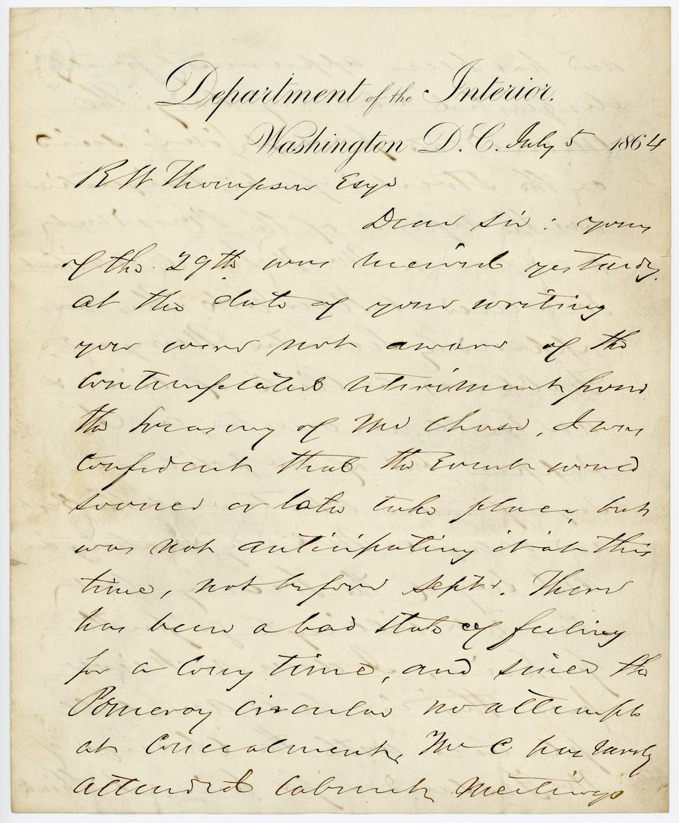 Image: Letter from John P. Usher to Richard W. Thompson