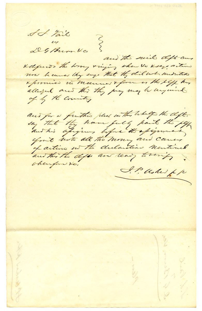 Image: Document in S.S. Vail vs. D.G. Burr & Company