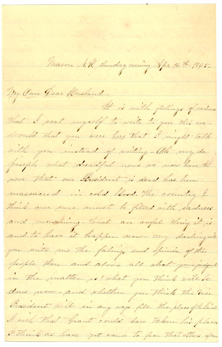 Image: Letter from Ellen F. O'Donnell to Edward J. O'Donnell