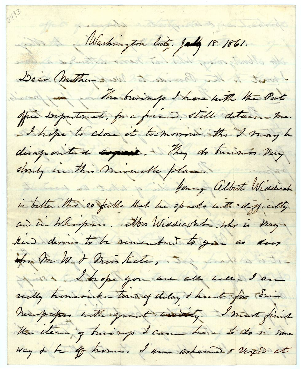 Image: Letter from Gideon J. Ball to Emeline Ball
