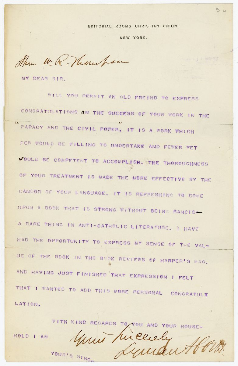Image: Letter from Lyman Abbott to Richard W. Thompson