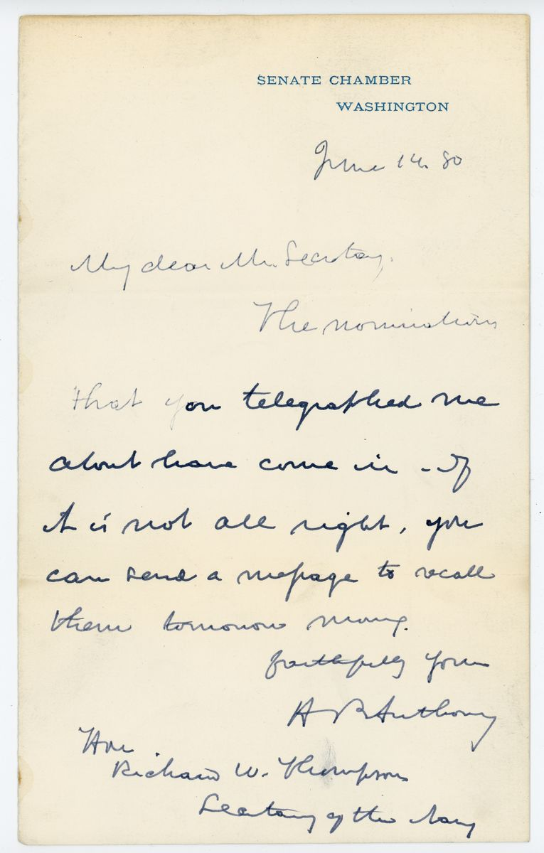 Image: Letter from Henry B. Anthony to Richard W. Thompson
