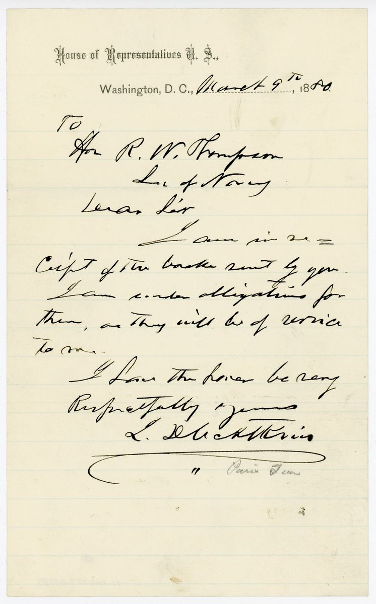 Image: Letter from John D.C. Atkins to Richard W. Thompson
