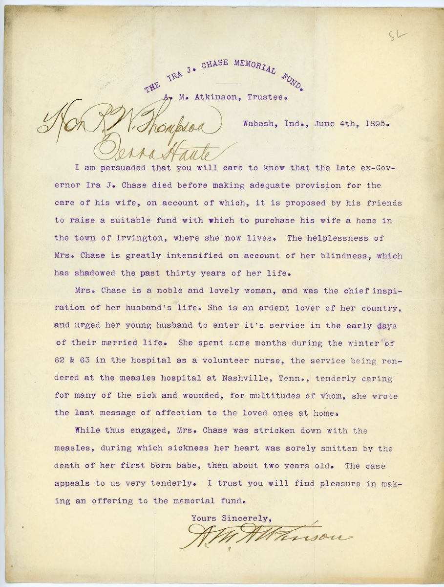 Image: Letter from A.M. Atkinson to Richard W. Thompson