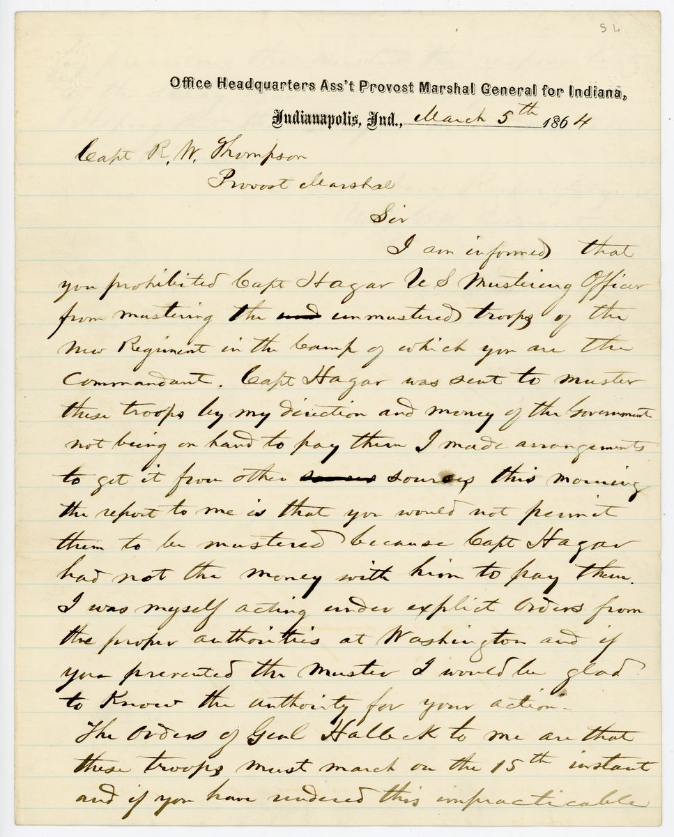 Image: Letter from Conrad Baker to Richard W. Thompson