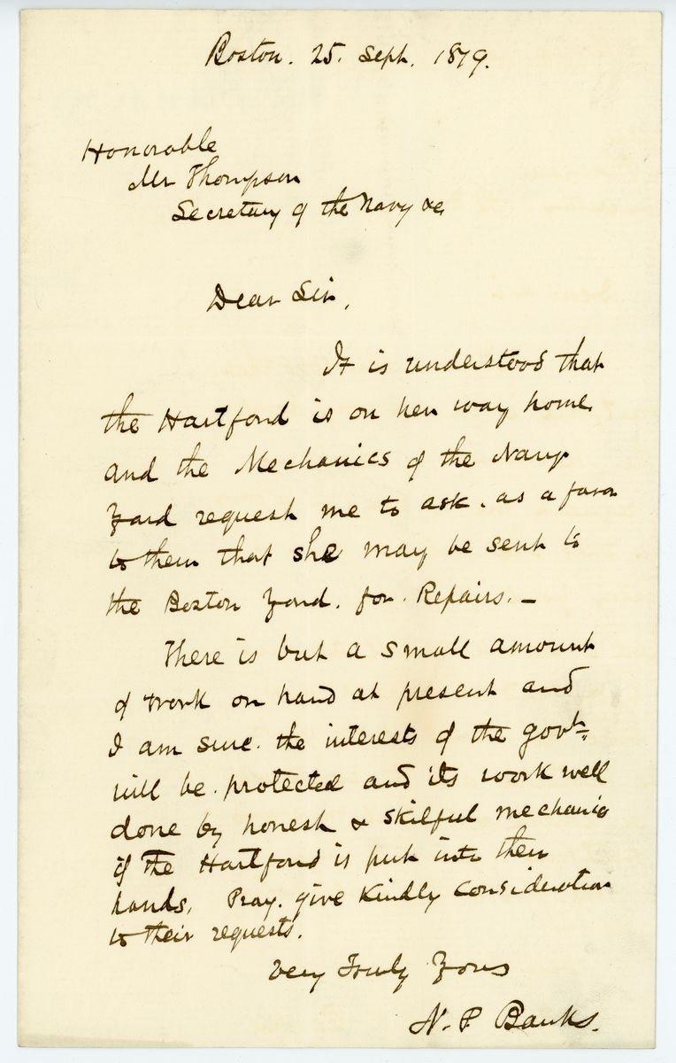 Image: Letter from Nathaniel P. Banks to Richard W. Thompson