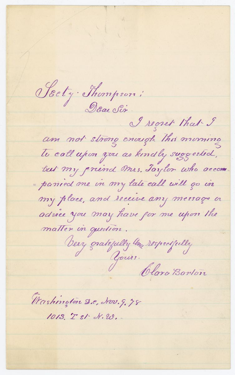 Image: Letter from Clara Barton to Richard W. Thompson