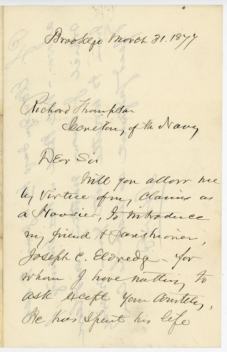 Image: Letter from Henry Ward Beecher to Richard W. Thompson