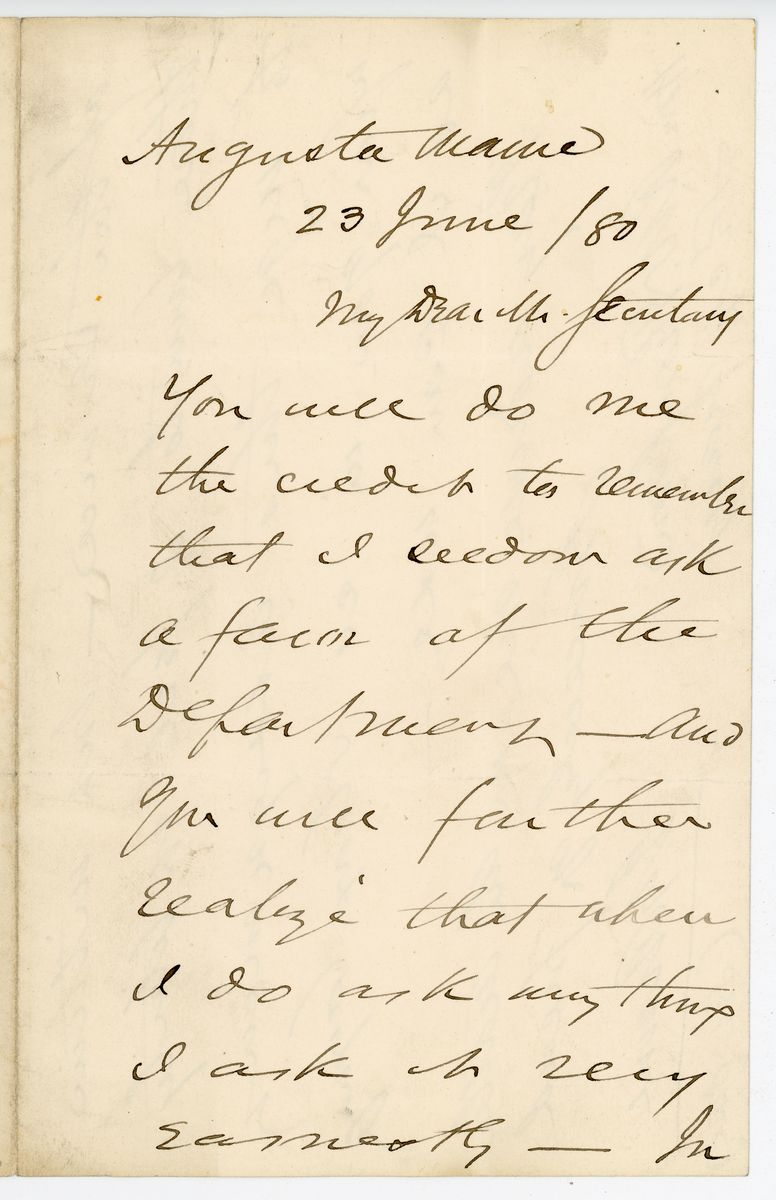 Image: Letter from James Gillespie Blaine to Richard W. Thompson