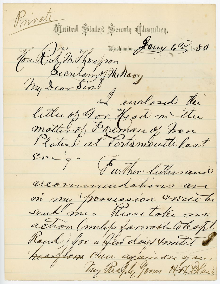 Image: Letter from Henry W. Blair to Richard W. Thompson