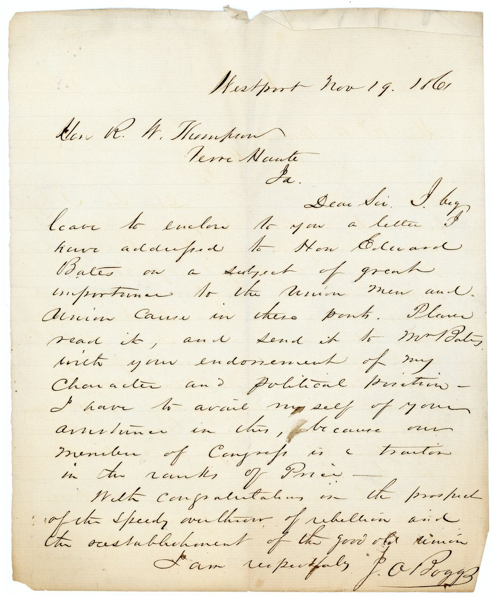 Image: Letter from J.O. Boggs to Richard W. Thompson