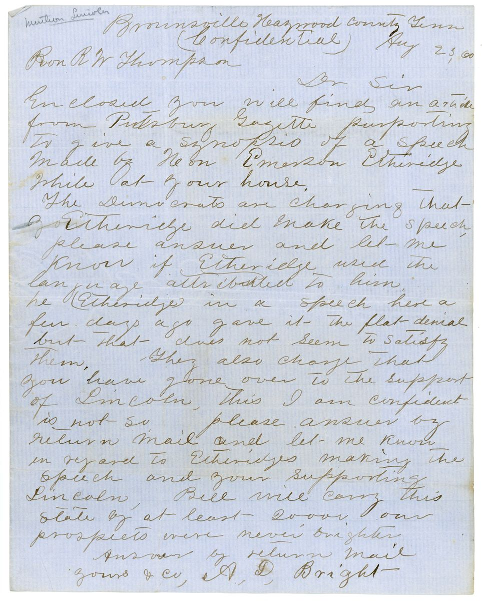 Image: Letter from A.D. Bright to Richard W. Thompson