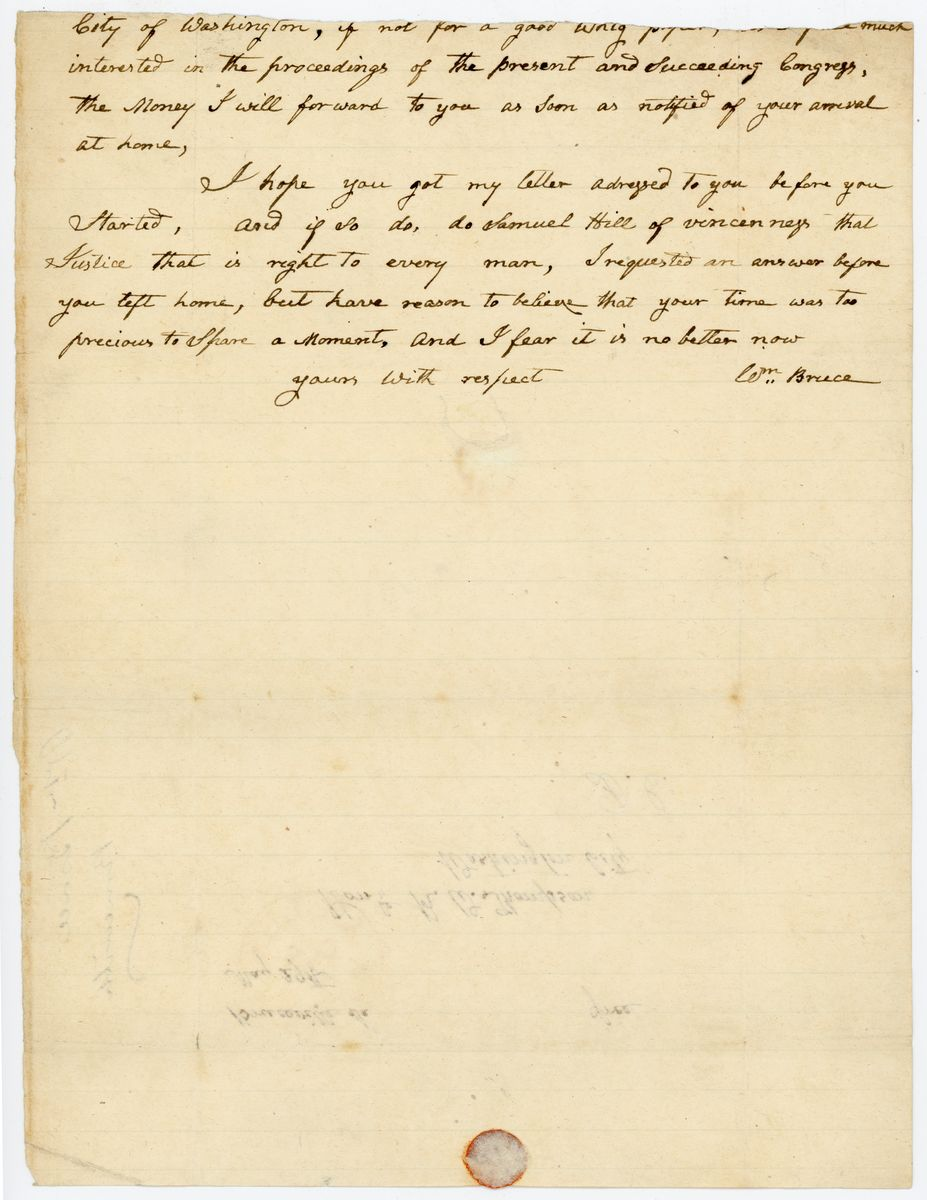 Image: Letter from William Bruce to Richard W. Thompson