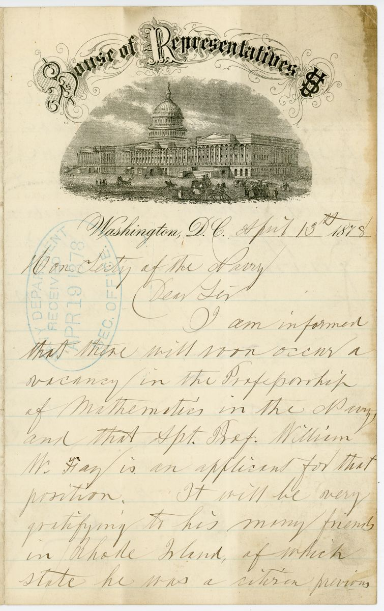 Image: Letter from Latimer W. Ballou, Benjamin T. Eames, and Ambrose Burnside to Richard W. Thompson