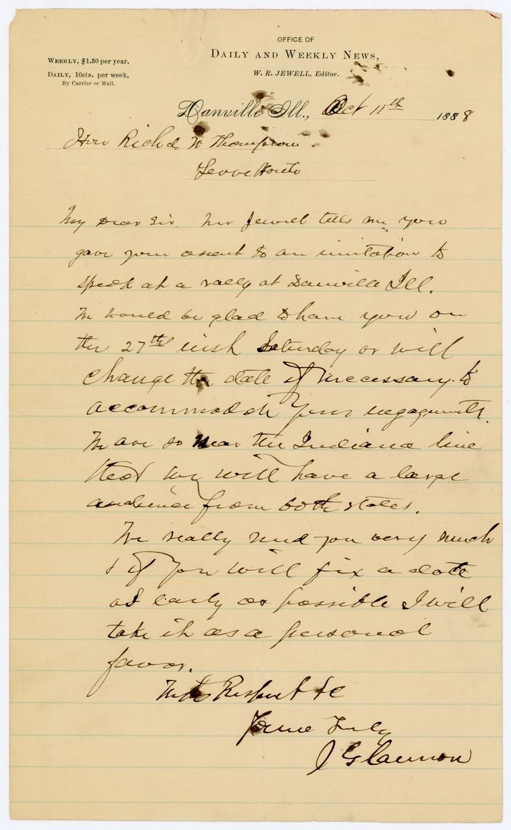 Image: Letter from Joseph G. Cannon to Richard W. Thompson