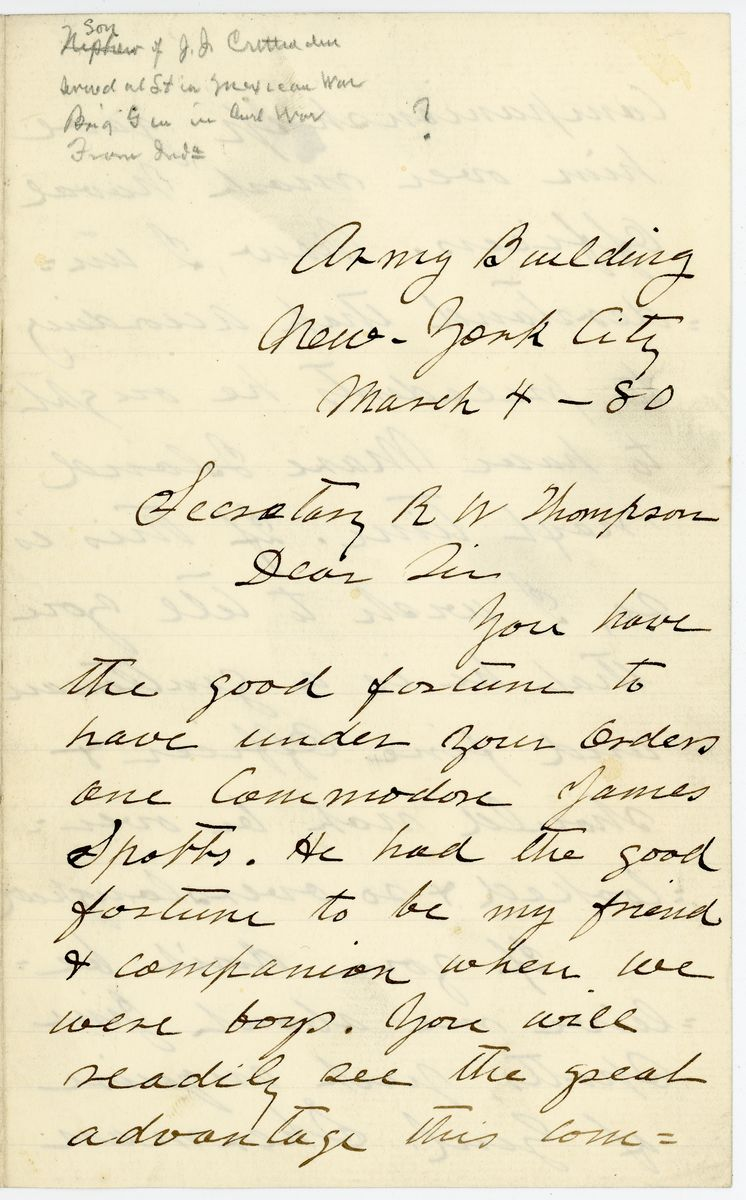 Image: Letter from Thomas L. Crittenden to Richard W. Thompson