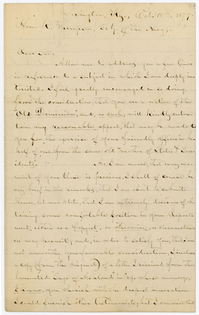Image: Letter from William Crutchfield to Richard W. Thompson