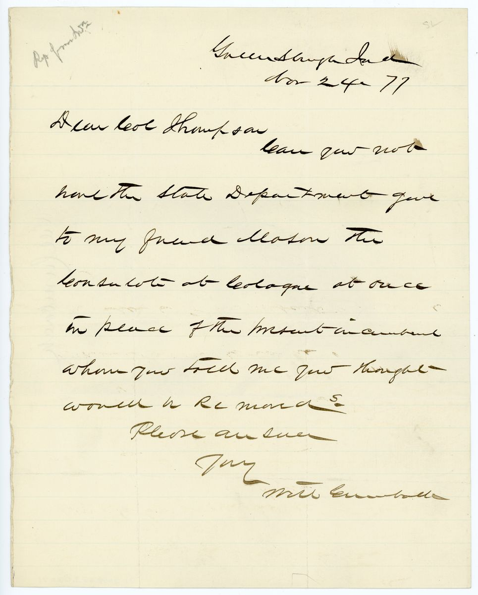 Image: Letter from Will Cumback to Richard W. Thompson