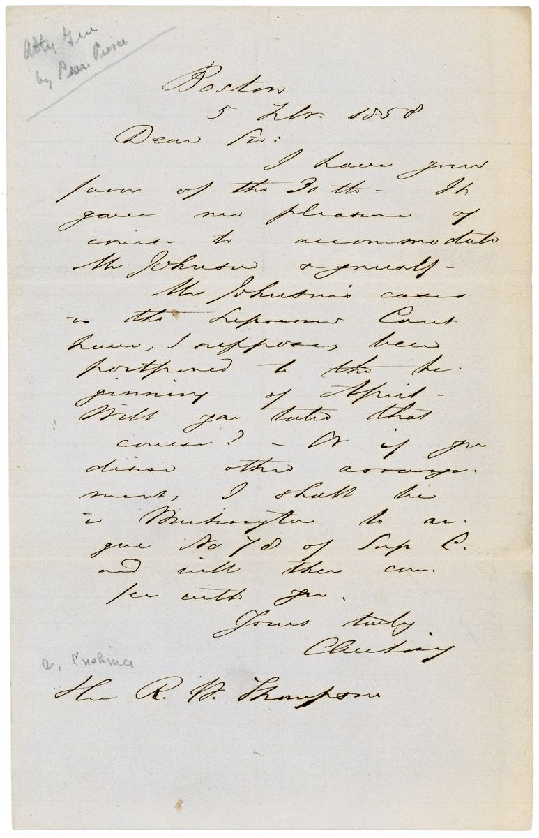 Image: Letter from Caleb Cushing to Richard W. Thompson