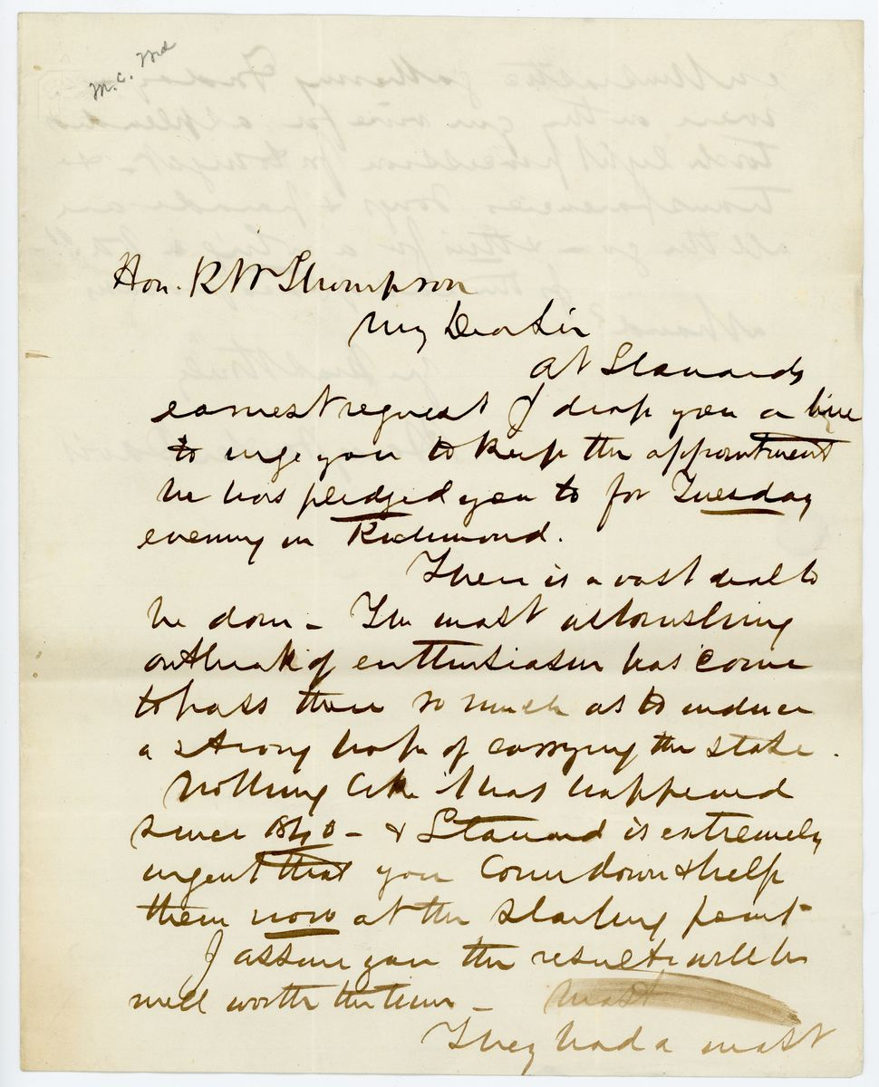 Image: Letter from Henry Winter Davis to Richard W. Thompson