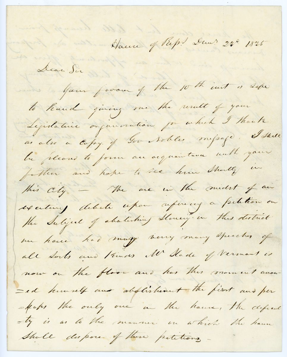 Image: Letter from John Wesley Davis to Richard W. Thompson