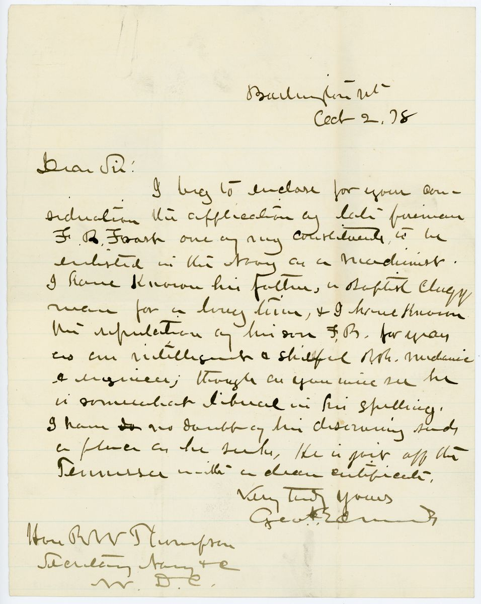 Image: Letter from George Edmunds to Richard W. Thompson