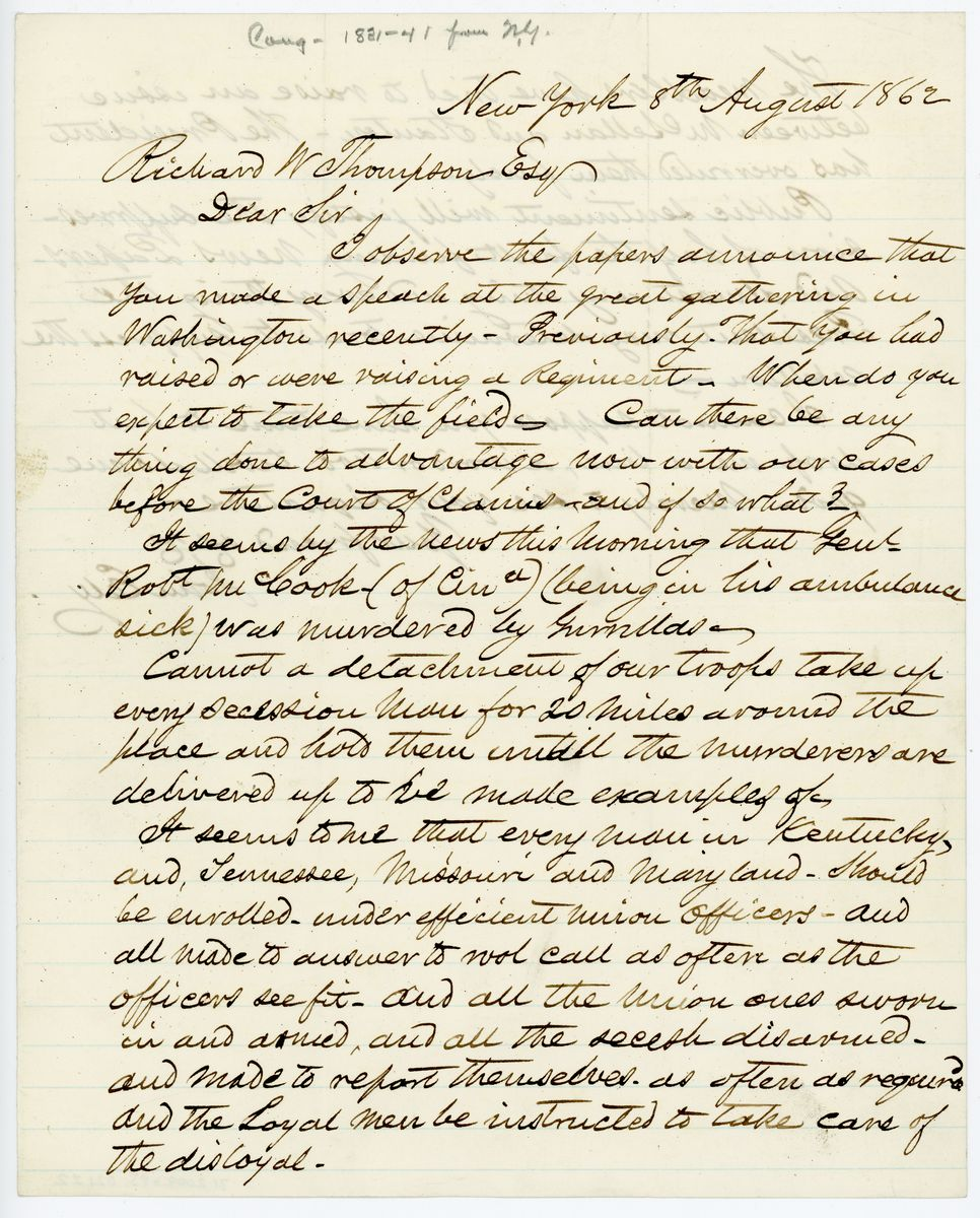 Image: Letter from John Ely to Richard W. Thompson